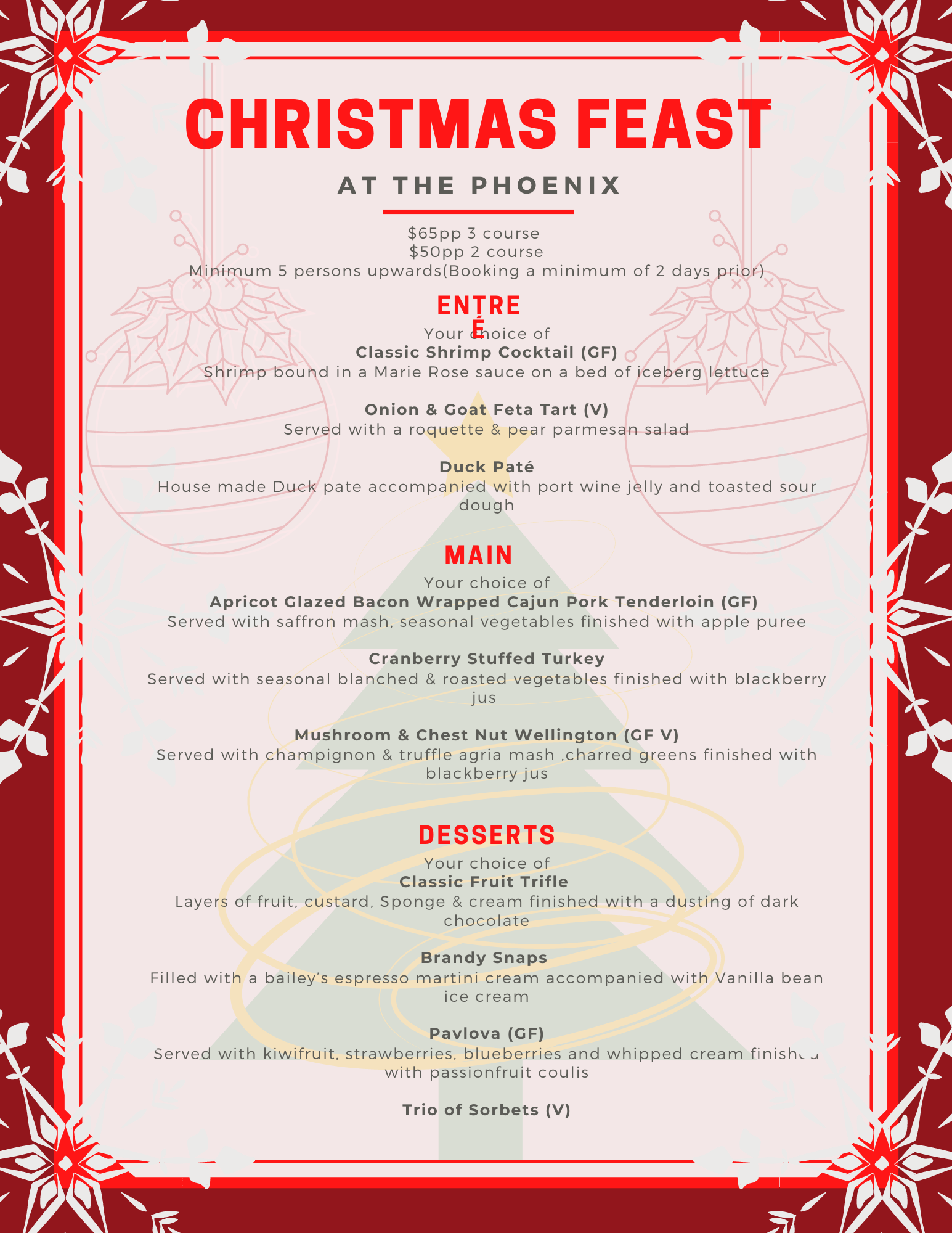 The Phoenix Christmas menu